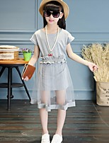cheap -Girl's Daily Solid Dress,Cotton Summer Short Sleeves Vintage Gray