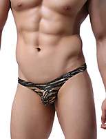 abordables -Homme Non Elastique camouflage G-string Sous-vêtements Fin-Polyester 1pc Or Argent