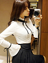 cheap -Women's Daily Work Street chic Spring Summer Shirt,Solid Round Neck Long Sleeve Cotton Polyester