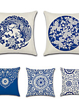 cheap -5 pcs Cotton/Linen Pillow Cover,Floral Bohemian Style Retro