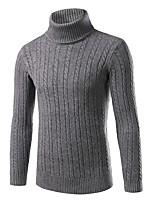preiswerte -Herrn Solide Verziert Alltag Freizeit Pullover Pullover Langarm Rollkragen Winter Herbst Polyester Nylon
