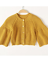 cheap -Girls' Going out Solid Suit & Blazer, Cotton Long Sleeves Casual Blue Yellow
