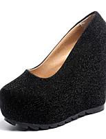 preiswerte -Damen Schuhe Paillette Frühling Herbst Komfort High Heels Creepers für Normal Gold Schwarz Silber