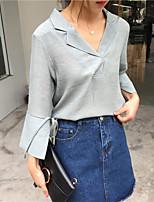 Недорогие -Для женщин На каждый день Рубашка V-образный вырез,Уличный стиль Однотонный Длинный рукав,Хлопок