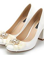 preiswerte -Damen Schuhe Seide Frühling Herbst Komfort High Heels Blockabsatz für Normal Weiß