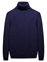 cheap -Men's Daily Going out Casual Street chic Criss-Cross Solid Color Stand Sweater Pullover, Long Sleeves Spring Cotton Acrylic