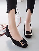 Недорогие -Жен. Обувь Нубук Весна Осень Удобная обувь Обувь на каблуках На толстом каблуке для Повседневные Черный Коричневый
