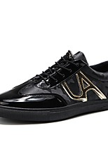 cheap -Men's Shoes Real Leather PU Leather Tulle Winter Fall Comfort Light Soles Sneakers Walking Shoes for Casual Outdoor Black/Gold Black
