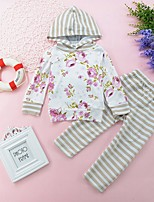 cheap -Girls' Daily Striped Floral Clothing Set,Cotton All Season Long Sleeve Casual White