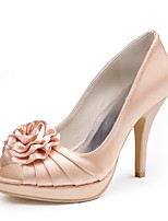 cheap -Women's Shoes Silk Spring Summer Basic Pump Wedding Shoes Stiletto Heel Peep Toe Satin Flower for Wedding Party & Evening Champagne