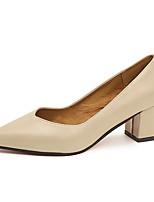 Недорогие -Жен. Обувь Полиуретан Весна Удобная обувь Обувь на каблуках На низком каблуке Круглый носок для Повседневные Черный Коричневый Миндальный