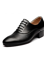 cheap -Men's Modern Cowhide Leather Oxford Chunky Heel Black Customizable