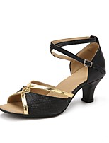"cheap -Women's Ladies' Latin Sparkling Glitter Other Animal Skin Tulle Sandal Heel Outdoor Paillette Customized Heel Black 2"" - 2 3/4"""
