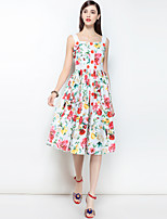 cheap -MARY YAN&YU Women's Party Going out Cute Boho Swing Midi Knee-length Dress,Floral Print Strap Sleeveless Spring Summer