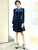 cheap -Baoyan Women's Party Casual Skater Knee-length Dress,Solid Color Ruched Basic Peter Pan Collar Long Sleeve Spring