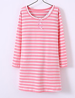 cheap -Girl's Stripes/Ripples Dress,Cotton Spring Fall Long Sleeves Simple Casual Light Blue Blushing Pink Green