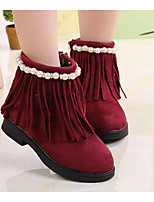 cheap -Girls' Shoes Suede Winter Fall Comfort Snow Boots Boots Booties/Ankle Boots for Casual Wine Brown Black