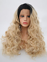 cheap -Synthetic Lace front Wig Black Roots 613/60 Blonde Balayage Hair Heat Resistant Long Straight Synthetic Wigs
