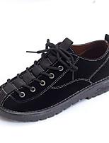 preiswerte -Damen Schuhe PU Frühling Komfort Outdoor Flacher Absatz Runde Zehe für Normal Schwarz Khaki