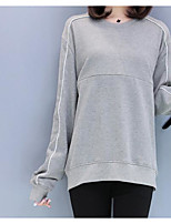 cheap -Women's Others Street chic T-shirt,Solid Round Neck Long Sleeves Cotton