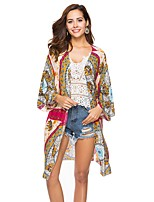 cheap -Women's Beach Boho Polyester Blouse Print V Neck