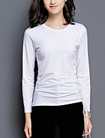 cheap -Women's Daily Going out Casual Active Winter Fall T-shirt,Solid Round Neck Long Sleeve Cotton Thin