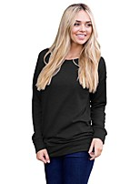 cheap -Women's Daily Casual Winter Fall T-shirt,Solid Round Neck Long Sleeve Polyester Opaque