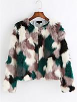 Недорогие -Для женщин Повседневные На выход Зима Пальто с мехом V-образный вырез,Активный Уличный стиль Контрастных цветов Короткая Длинные рукава,