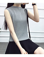 economico -T-shirt Per donna Quotidiano Semplice Estate,Tinta unita Colletto alla coreana Cotone Senza maniche