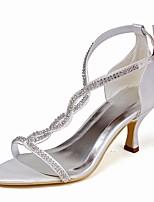 Недорогие -Для женщин Обувь Шёлк Весна Лето Туфли лодочки Свадебная обувь На шпильке Открытый мыс Стразы Пряжки для Свадьба Для вечеринки / ужина