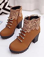 Недорогие -Жен. Обувь Нубук Зима Осень Удобная обувь Ботильоны Ботинки На толстом каблуке для Повседневные Черный Оранжевый