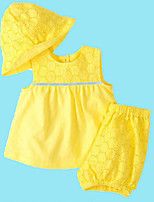 cheap -Baby Toddler Daily Solid Clothing Set,Cotton Spring Ordinary Short Sleeve Yellow