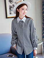 cheap -Women's Holiday Going out Sophisticated Shirt,Striped Shirt Collar Long Sleeves Spandex Others