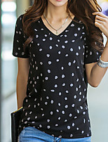 cheap -Women's Daily Casual Summer T-shirt,Polka Dot Round Neck Short Sleeve Cotton
