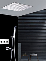 Недорогие -Современный Монтаж на стену Дождевая лейка Ручная лейка входит в комплект Термостатический Керамический клапан Четыре Ручки четыре