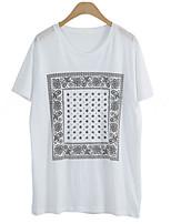 abordables -Tee-shirt Femme,Imprimé Quotidien Décontracté Eté Manches courtes Col Arrondi Coton Opaque