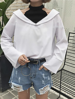 cheap -Women's Casual/Daily Street chic Shirt,Color Block Halter Long Sleeves Cotton