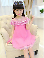 cheap -Girl's Daily Going out Patchwork Dress,Polyester Summer Short Sleeves Casual Street chic Light Blue Fuchsia