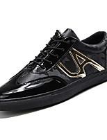 Недорогие -Муж. обувь Полиуретан Весна Осень Удобная обувь Кеды для Повседневные Черный Черный и золотой