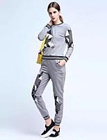 preiswerte -Damen Druck Freizeit Alltag Kapuzenshirt Hose Anzüge,Rundhalsausschnitt Ganzjährig Langärmelige Polyester Mikro-elastisch
