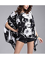 cheap -Women's Daily Casual Spring Summer Blouse,Floral Round Neck ¾ Sleeve Polyester