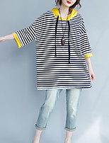 cheap -Women's Casual/Daily Street chic T-shirt,Striped Hooded ¾ Sleeve Cotton