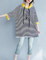 economico -T-shirt Da donna Casual Moda città A strisce Con cappuccio Cotone