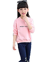 cheap -Girls' Solid Cartoon Letter Tee,Cotton Spring Fall Long Sleeve Simple Cute Cartoon Blushing Pink Red