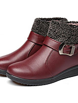 cheap -Women's Shoes Leatherette Spring Fall Comfort Snow Boots Boots Wedge Heel Booties/Ankle Boots for Casual Black Brown Wine