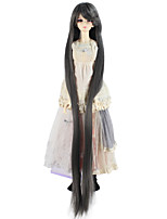 cheap -Synthetic Doll Accessories Very Long Straight Dark Gray Color Wig for 1/3 1/4 BJD SD DZ MSD Doll hair Not for Human Adult Wigs