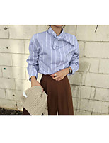 cheap -Women's Casual/Daily Active Spring/Fall Shirt,Striped Shirt Collar Long Sleeve Cotton Medium