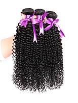 Недорогие -3 предмета Черный Кудрявый вьющиеся Бразильские волосы Ткет человеческих волос Наращивание волос