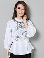 Недорогие -Для женщин На каждый день Рубашка Воротник-стойка,Уличный стиль С принтом Длинный рукав,Хлопок