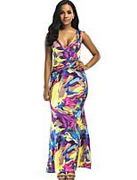 baratos -Mulheres Tubinho Bainha Vestido - Peplum Frente Única, Floral Arco-Íris Decote V Cintura Alta Longo